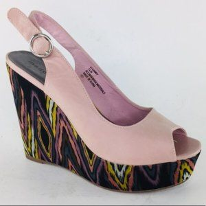 Madden Girl Pink Psychedelic Tribal G-Gabby Wedge